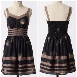 Anthropologie Burlap Dandelion Wish Silk Dress